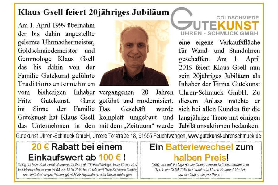 Klaus Gsell feiert 20 Jahre Gutekunst